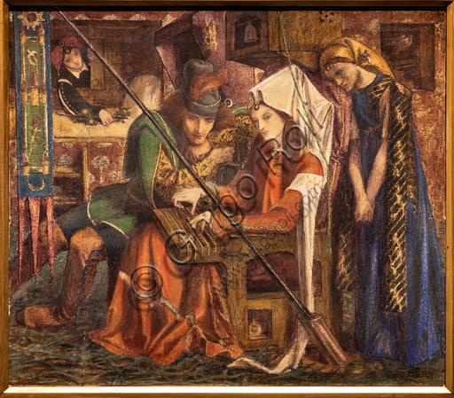"""""""La canzone delle sette torri"""", (1857)  di Dante Gabriel Rossetti (1828-1882); acquerello su carta."""