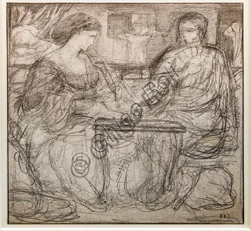 "Schizzo di due figure sedute per ""I giocatori di backgammon""? (1861) di Edward Coley Burne - Jones  (1833 - 1898); grafite su carta."