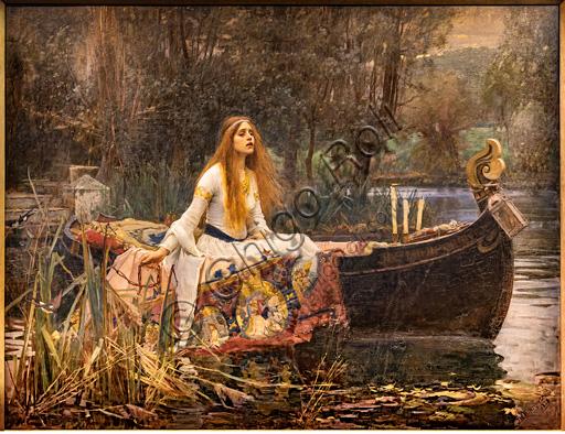 """""""La Dama di Shalott"""", 1888 di John William Waterhouse  (1849 - 1917); olio su tela. Fonte ispiratrice è l'omonimo poema di Alfred Tennyson."""
