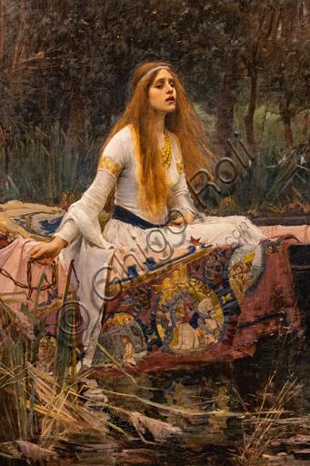 """""""La Dama di Shalott"""", 1888 di John William Waterhouse  (1849 - 1917); olio su tela. Fonte ispiratrice è l'omonimo poema di Alfred Tennyson. Particolare."""