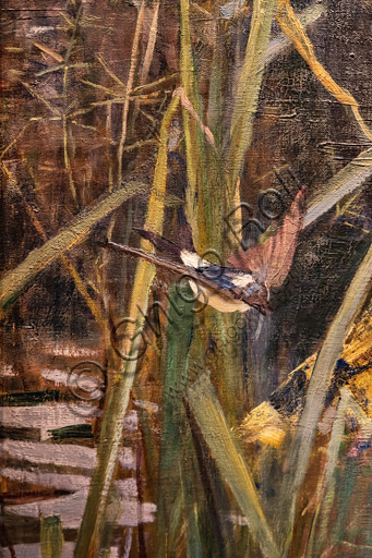 """""""La Dama di Shalott"""", 1888 di John William Waterhouse  (1849 - 1917); olio su tela. Fonte ispiratrice è l'omonimo poema di Alfred Tennyson. Particolare con uccello."""