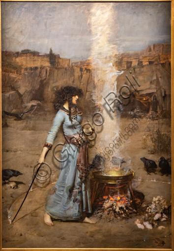 """""""Il cerchio magico"""", 1886 di John William Waterhouse  (1849 - 1917); olio su tela. Il dipinto descrive la scena in cui una strega disegna intorno a se un cerchio di fuoco e un calderone. Il paesaggio è roccioso e ci sono dei corvi."""