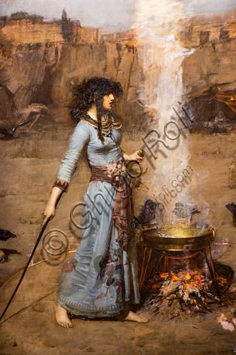 """""""Il cerchio magico"""", 1886 di John William Waterhouse  (1849 - 1917); olio su tela. Il dipinto descrive la scena in cui una strega disegna intorno a se un cerchio di fuoco e un calderone. Il paesaggio è roccioso e ci sono dei corvi. Particolare."""