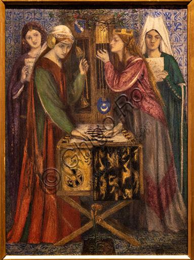 """""""Lo studiolo blu"""", (1857)  di Dante Gabriel Rossetti (1828-1882); acquarello su carta."""