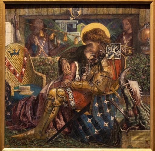 """""""Le nozze di S. Giorgio e della Principessa Sabra"""", (1857)  di Dante Gabriel Rossetti (1828-1882); acquarello su carta."""