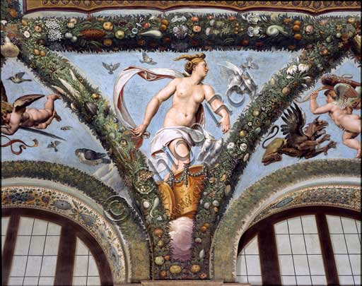 Rome, Villa Farnesina, Loggia of Cupid and Psyche: one vault  pendentive depicting Venus on the cart, pulled by white doves.Fresco by  Giulio Romano on a Raphael's draft (1517-18).